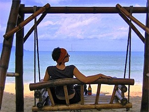 woman relaxing on thai beach