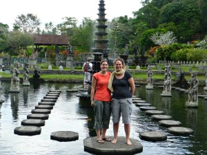 ladies at water palace in indonesia