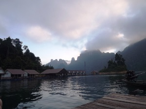 floating raft huts in Thailand