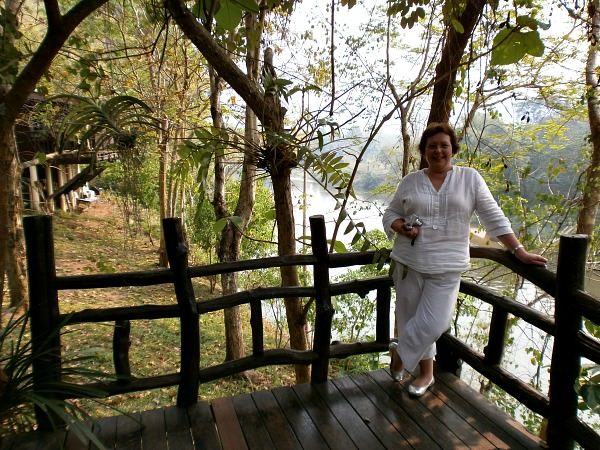 customer enjoying the view over the River Kwai in thailand