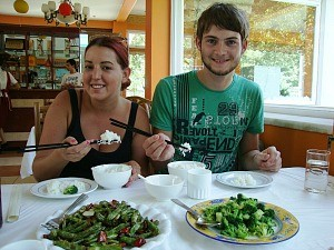 couple enjoying meal in china