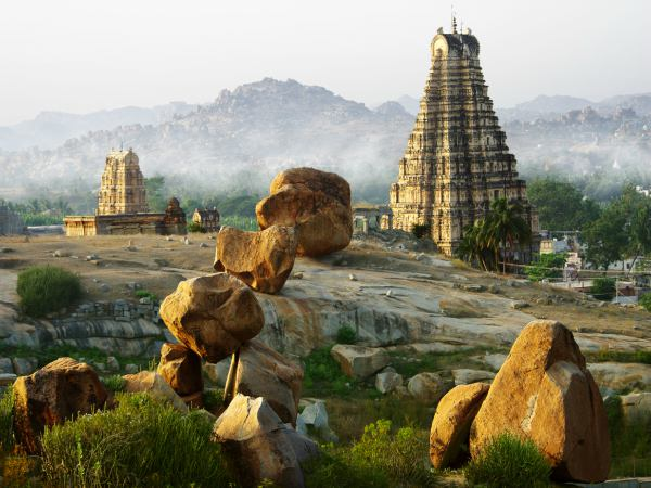 Temple in Hampi India with boulders