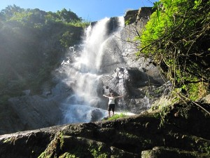 rickshaw staff ceri by waterfall in sri lanka