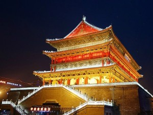 lit up temple at night in china