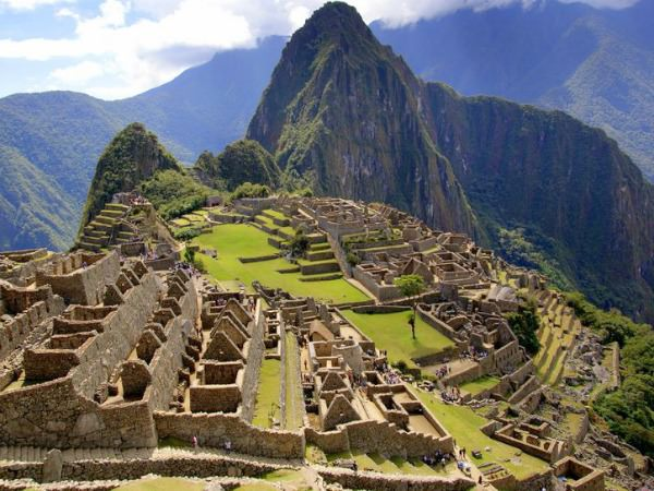 classic view over ruins of machu picchu