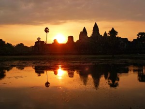 sunrise at angkor wat in cambodia
