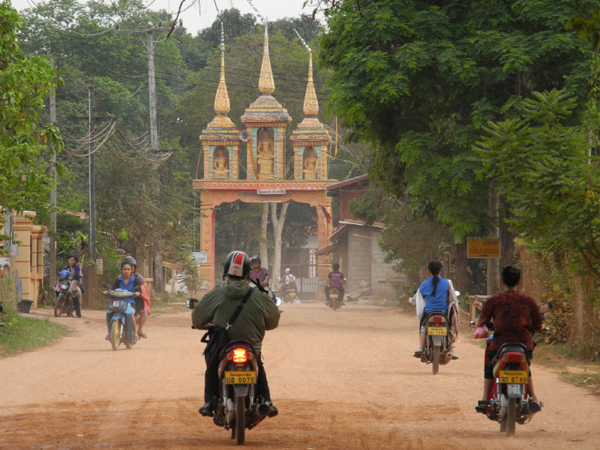 Motorbikes riding in Laos