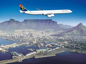 plane flying over south africa