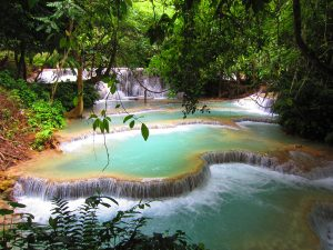 Clear water waterfall in Laos