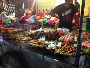 local food stand in laos