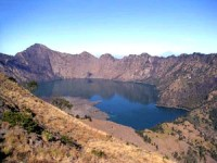 rinjani volcano crater lake in indonesia