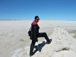 woman in salt flats in bolivia