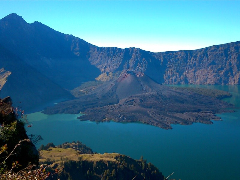 crater lake at rinjani volcano in indonesia