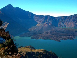 view of rinjani volcano in indonesia