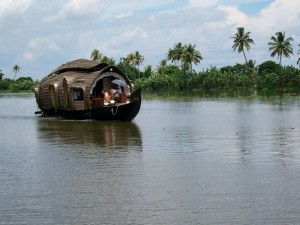 houseboat on river in india