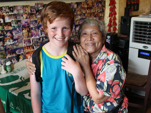 Young boy with Thai woman in Thailand