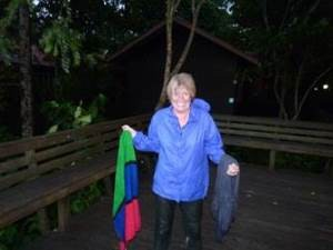 woman soaked in Borneo rainforest