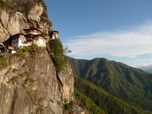 View of the Tiger's Nest building on a ledge of the mountainside