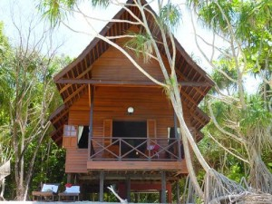 Borneo bungalow in jungle
