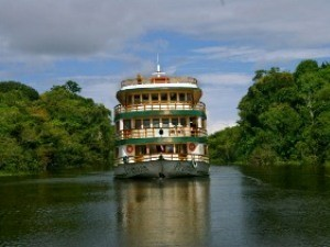 amazon boat on the river in brazil