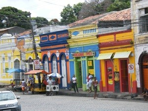 Colourful shops in Olinda, Brazil