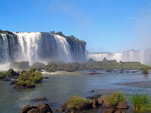 Daytime view of Iguazu Falls in Brazil