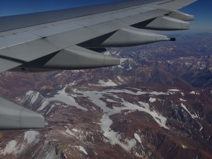 View of the Andes from the plane