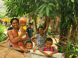 Local Balinese family smiling for the camera