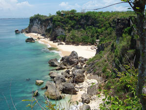 View across rugged cliffs and sandy beaches in Belangan Indonesia