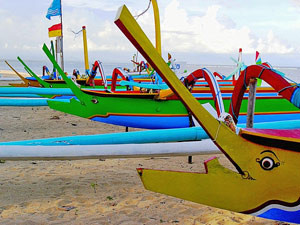 Colorful boats on the beach