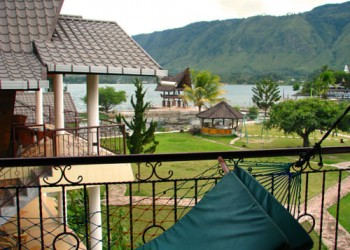 View from accommodation on Lake Toba in Sumatra