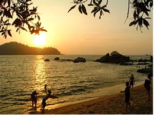 Sunset over the beach in Pulau Pangkor in Malaysia