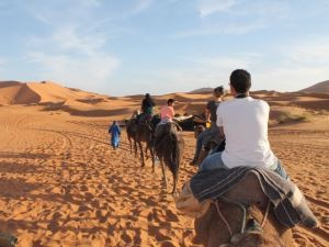 People travelling in desert on camels in Morocco