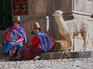 Two locals sitting on the street next to a lama
