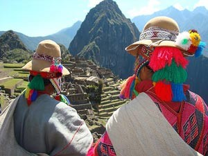 Locals in colorful clothes on top of the mountains