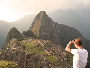 Customer looking down at Machu Picchu