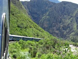 A train on the way to Machu Picchu