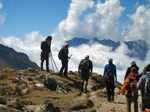 Customers on their trekking tour on Machu Picchu
