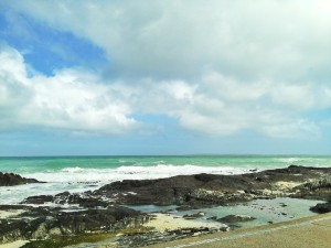 View of the rugged coastline at Bloubergstrand