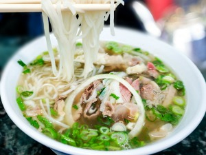 Delicious bowl of Vietnamese pho noodles