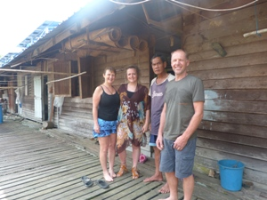 chloe and family with local Iban chief