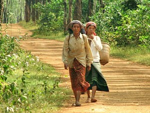 Two local women walking on the road