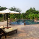 Nice terrace with deck chairs and pool