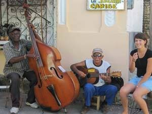 Local musicians with customer