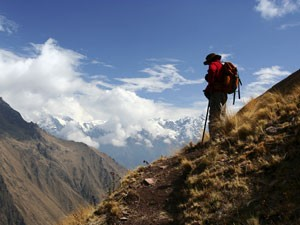 Traveller looks down on Inca trail