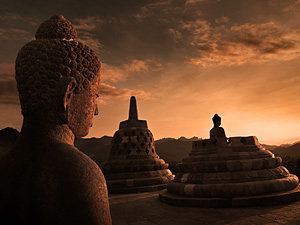 Indonesia java stone sculptures at sunrise