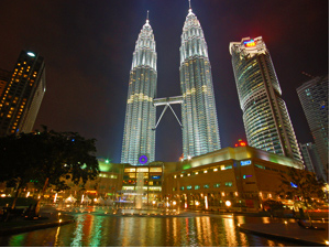 View looking up at the Twin Towers in Kuala Lumpur in Malaysia