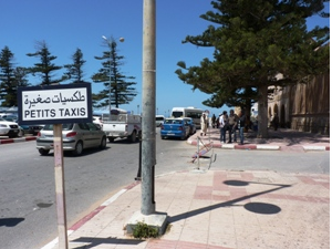Taxi sign at the road in Morocco