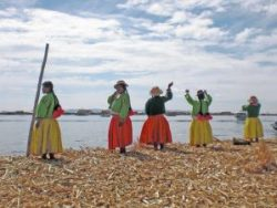 Local women living on Lake Titicaca, Peru