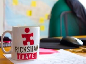 Rickshaw Travel mug on a desk at the office
